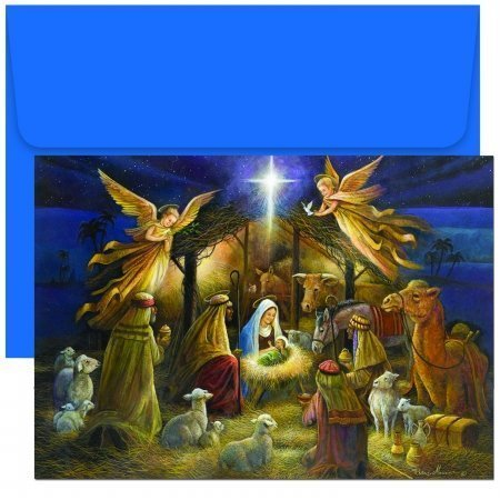 Christmas Card Scene Nativity (Masterpiece Holiday Collection 18-Count Christmas Cards, A Holy Scene)