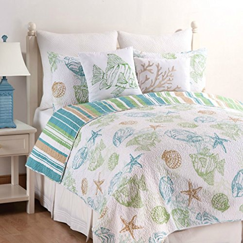 C&F Home Reef Point Coastal Quilt Set, King, Blue (Tropical Retreat)