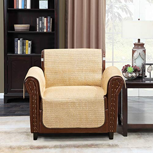 (Home Queen Faux Straw Couch Slipcover Chair Covers for Summer, Sofa Protector with Straps, Furniture Covers Fit Most Recliner Chair 75'' L x 65'' W, Natural Beige)
