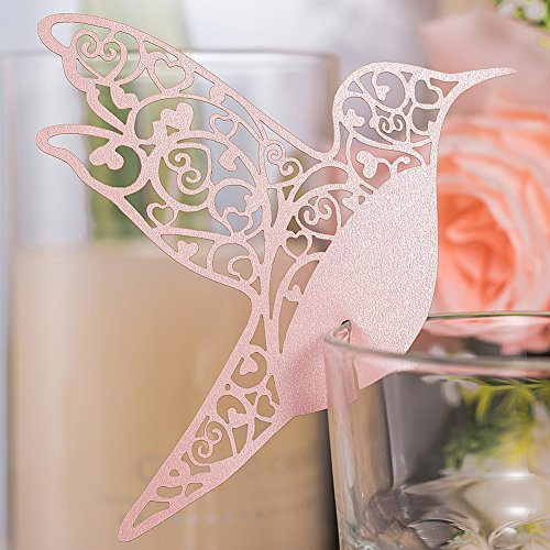 Premium 50pcs Wedding Place Table Name Cards 3D Laser Cut Birds Seating Card Party Wine Glass Cup Decoration for Bridal Baby Shower Engagement Birthday Tea Party Graduation Favor (Pink) (Card Place Tea Holders Party)