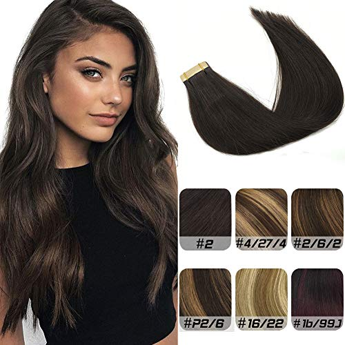 Labhair Tape in Hair Extensions Human Hair Straight 100% Unprocessed Virgin Remy Human Hair Darkest Brown Color #2 Seamless Skin Weft Tape In Hair Extensions 22inch 50g/20pcs (Best Virgin Human Hair Extensions)