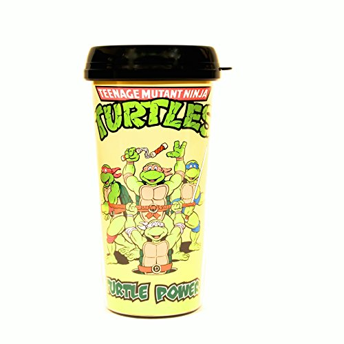 Silver Buffalo NT6587 Nickelodeon Teenage Mutant Ninja Turtles Turtle Power Plastic Travel Mug, 16-Ounces (Ninja Turtle Mug Coffee)