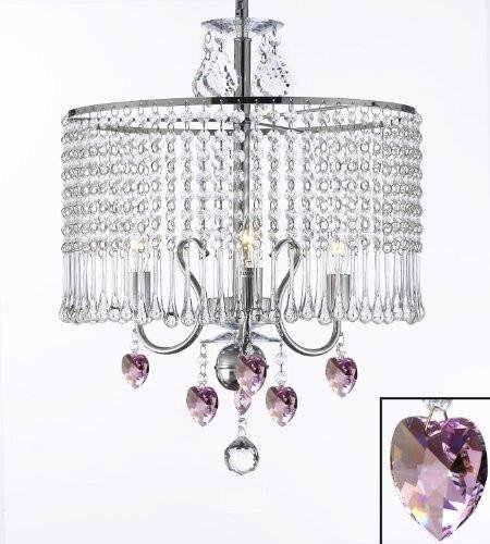 (Contemporary 3-light Crystal Chandelier Chandeliers Lighting With Crystal Shade and Pink Crystal Hearts! W 16