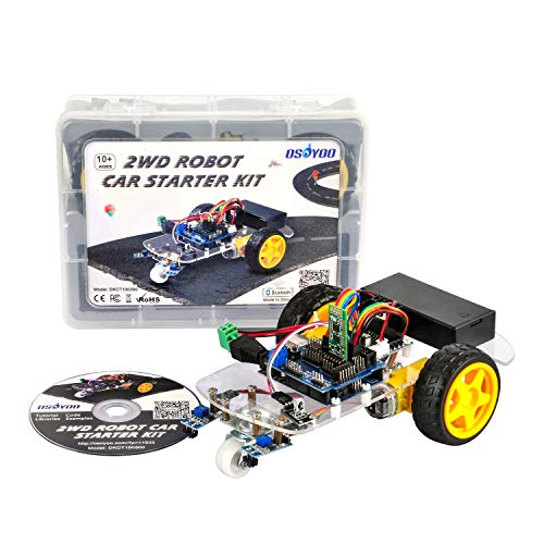 (OSOYOO 2WD Robot Car Starter Kit with UNO R3, with Tutorial DVD, Line Tracking Sensors, Bluetooth Module and IR Modules, Toy for Arduino DIY Learner)