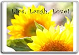 Live Laugh Love, Sunflower ? Motivational Quotes Fridge Magnet
