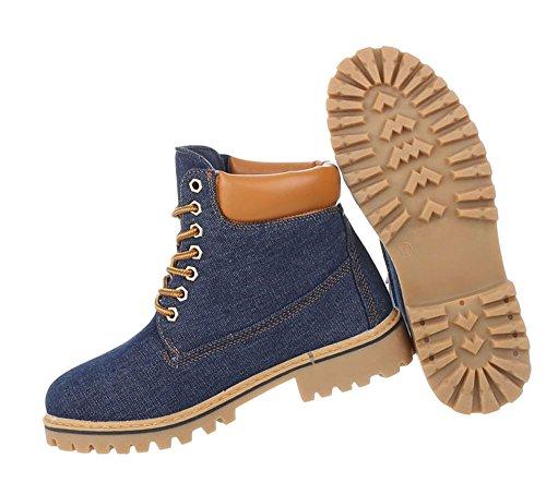 Damen Schuhe Stiefeletten Schnür Boots Blau
