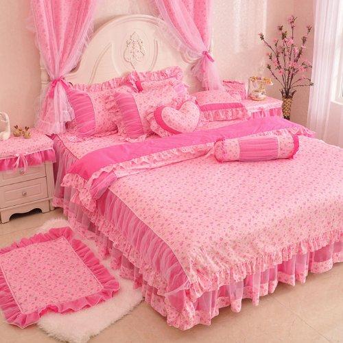 FADFAY Home Textile,Pink Floral Print Bedding Set,Romantic Korean Princess Girls Fairy Lace Ruffle Bedding Sets