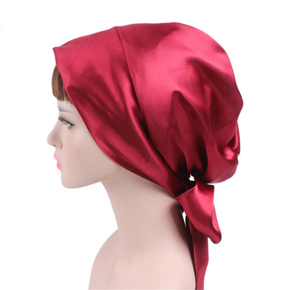 Melodycp Soft Satin Head Scarf Sleeping Cap Head Cover Turbans Bonnet Headwear For Women Favors (Color : C1)
