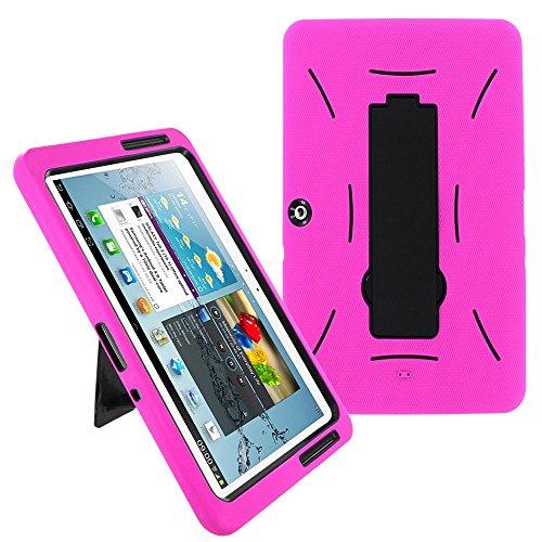 Galaxy Tab 2 10.1 Case KIQ (TM) Heavy Duty Hybrid Silicone Skin Hard Plastic Case Cover w/Kick Stand for Samsung Galaxy Tab 2 10.1 P5100 (Black/Hot Pink)