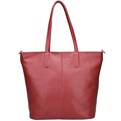 Damero Women's Soft Leather Tote Bag with Shoulder Strap, Wine ()
