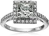 Platinum over Sterling Silver VG Moissanite Framed Square Brilliant Ring, Size 7