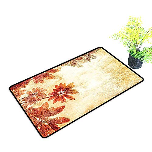 gmnalahome Waterproof Indoor Door Mat Dated Leaves Pattern On Vintage Setting Papyrus Nature Autumn Shaded Color Print Environmental Protection Fabric W39 x H15 INCH