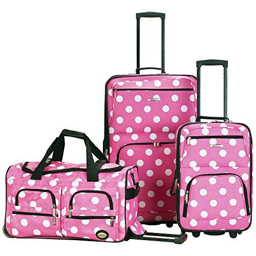 Rockland Luggage 3 Piece Printed Luggage Set, Pink Dot, Medium