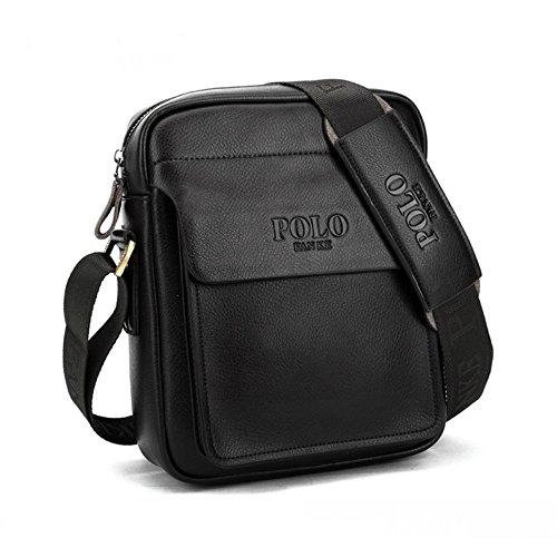 Men's Genuine Leather Shoulder Bag Messenger Bags Business Briefcase Composite Leather Classic Casual Bag (Black) ()