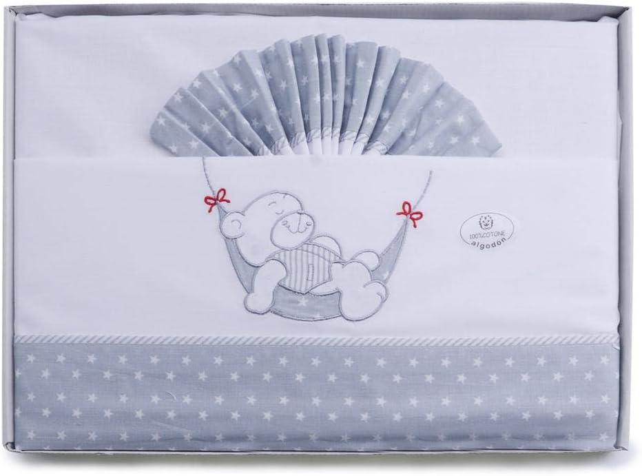 S/ábanas franela y algod/ón cuna Pirulos A Dormir color gris