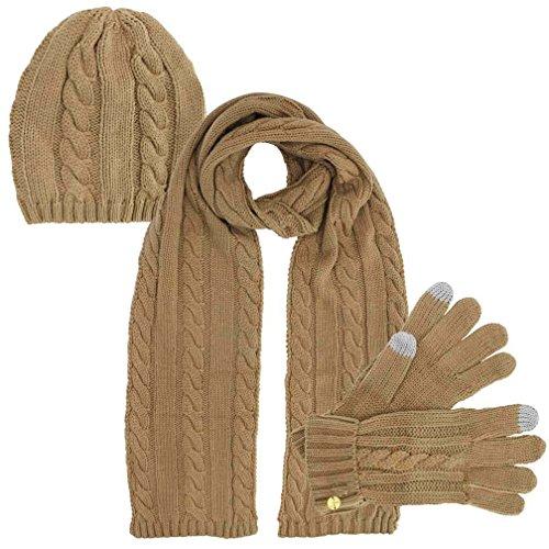 Beige 3 Piece Beanie Hat Texting Gloves & Matching Scarf Set (3 Piece Winter Gloves)