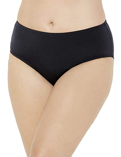 b0f7dfad6a Swimsuits for All Women's Plus Size Mid Rise Brief Swim Bottom 12 Black