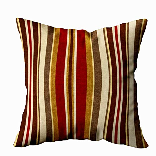 Shorping Zippered Pillow Covers Pillowcases 20X20 Inch burgundy burgundy brown tan and white stripes Decorative Throw Pillow Cover,Pillow Cases Cushion Cover for Home Sofa Bedding (Pillows Throw Burgundy Brown And)