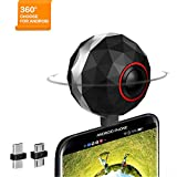 360 Degree 3K VR Camera for Android phone/tablet  Lolly360 VR Panoramic  Camera for Samsung Google  LG HTC and More (Micro USB or Type-C )