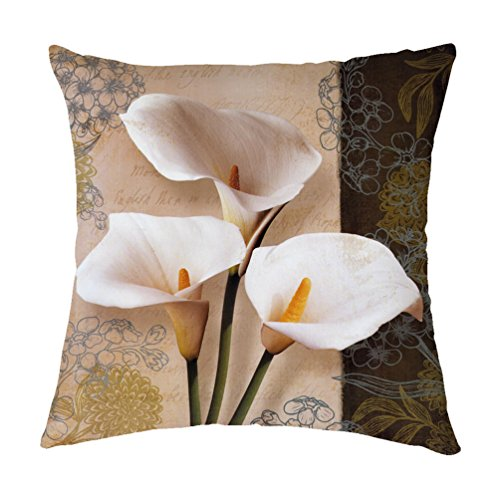 pillow covers Double Face Printing Lifelike and Vivid 3D White Calla Lily Decorative Polyester Throw Pillowcase Cushion Cover 18 X 18 Inch