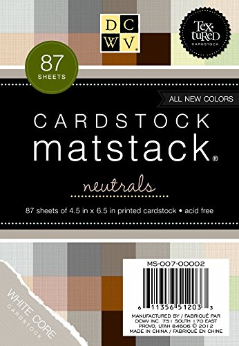 Die Cuts DCWV Cardstock Stack, Match Makers Neutrals, 87 Sheets, 4-1/2 x 6-1/2 inches
