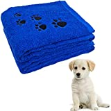 Pet Bath Towel 100% Cotton Paw Print Embroidered Dog and Cat, Marine Blue
