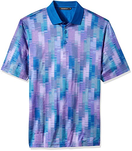 Bugatchi Men's Slim Fit Mercerized Cotton Three Button Polo Shirt, Orchid, L