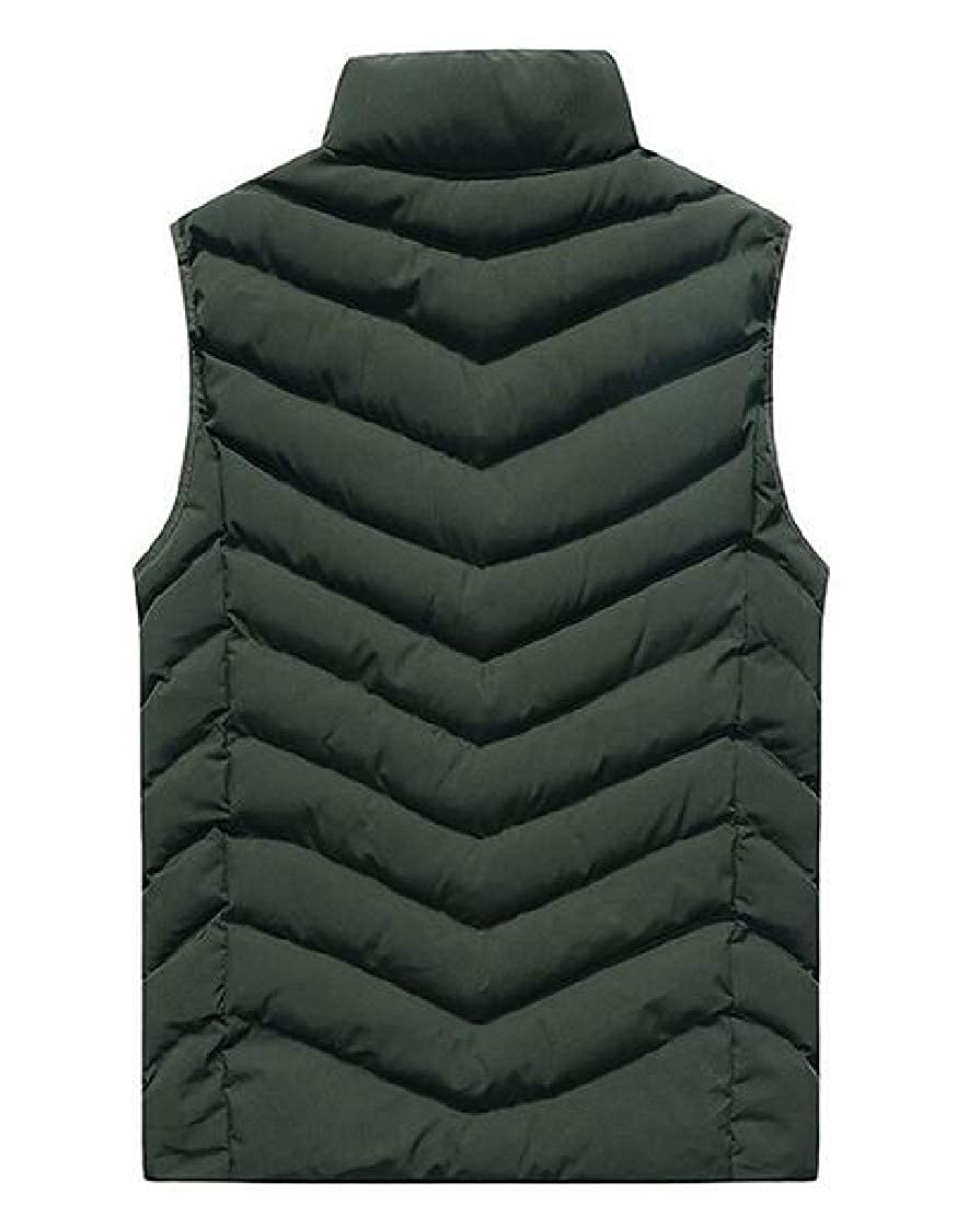 Tootless-Men Banded Collar Sleeveless Fall Winter Leisure Vest Quilted Gilet