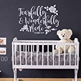 BATTOO Fearfully and Wonderfully Made Decal Bible Verse Vinyl Wall Decal Scripture Wall Decal Nursery decal for girls Boys Bedroom Vinyl Wall Decal, 50'' W by 36'' H white