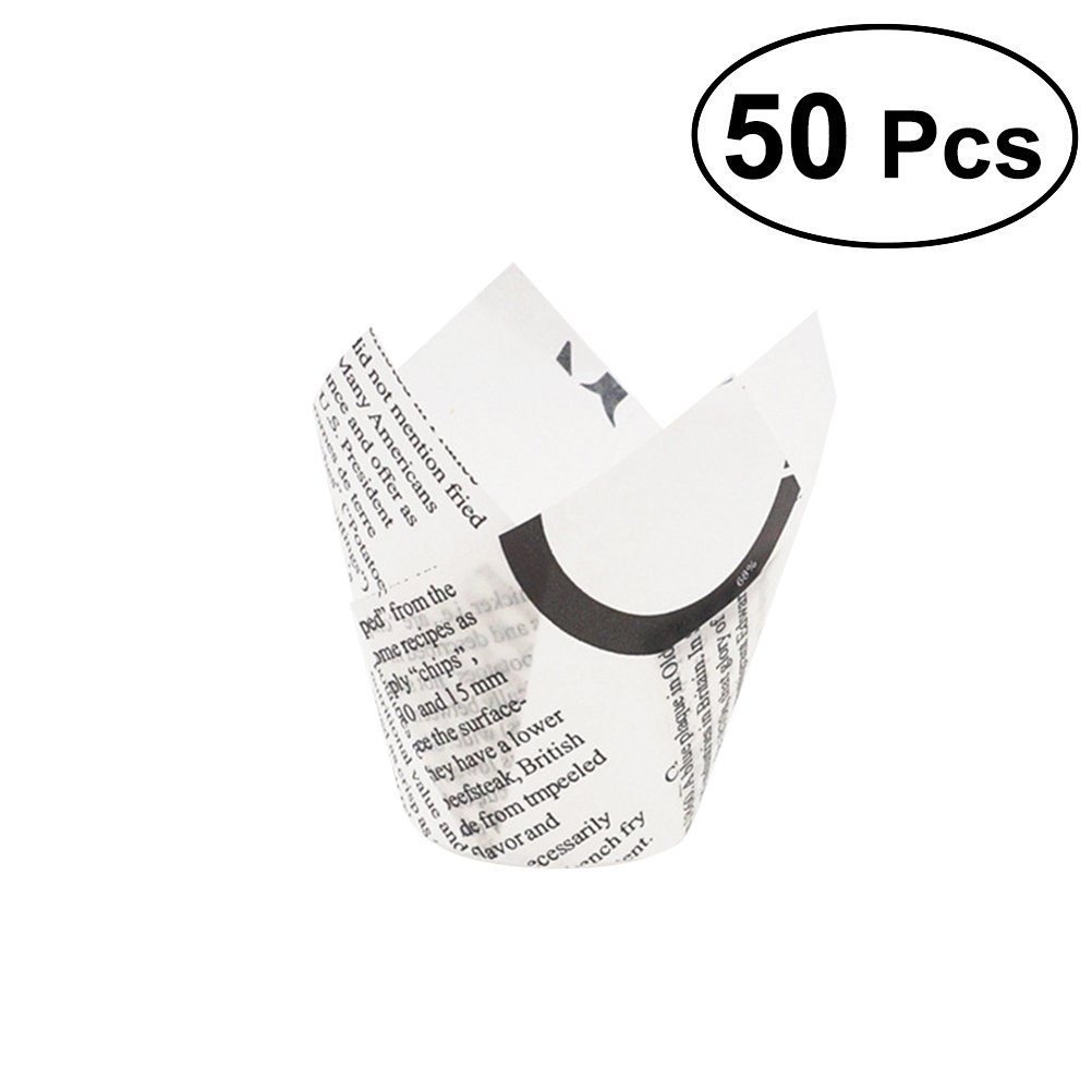 BESTOYARD 50Pcs Newspaper Tulip Cupcake Wrappers Liners Muffin Cases Cake Cup Party Favors (White)