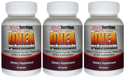 Nutrition Vivid Fort Potentiel DHEA Platinum (3 bouteilles) - de qualité pharmaceutique, hautement concentré supplément de DHEA 25mg 60 capsules
