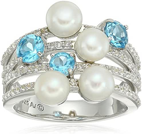 Sterling Silver Freshwater Cultured Pearl with Swiss Blue and White Topaz Accent Beaded Ring, Size 7