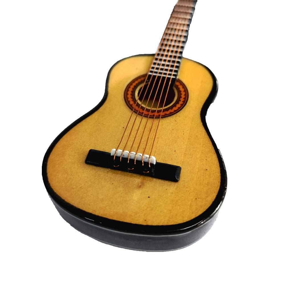 5.1 inch // 13 CM Wooden Maple Mini Ornaments Guitar Musical Instrument Miniature Dollhouse Model Home decoration with Holder