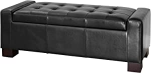 Great Deal Furniture Rothwell Black Bonded Leather Storage Ottoman (( Deluxe. ) Black)