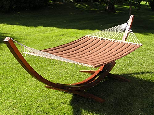 Deluxe Wood Arc Hammock Stand Including + Two Person Brown Quilted Hammock