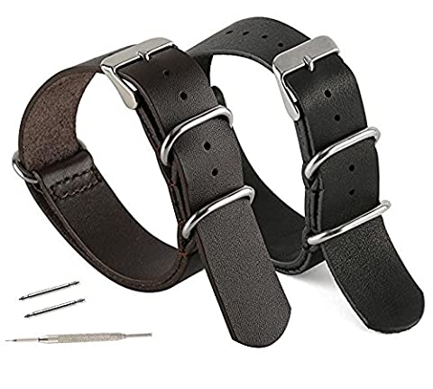 Men's Leather Watchband with Spring Bar Tool and 2 Spring Bars, Adjustable & Durable, All Vegan Materials, BLACK, By United (Vegan Leather Watch Man)