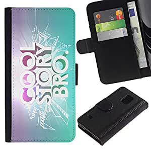 KingStore / Leather Etui en cuir / Samsung Galaxy S5 V SM-G900 / Historia fresca Cita Slogan Bling Cita brillante