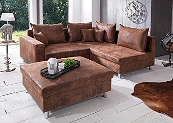 Sofa landhausstil leder  Sofa Lambada Ecksofa Landhausstil Braun Stoff Textil: Amazon.de ...