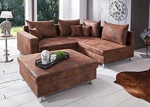 Ecksofa landhausstil  Sofa Lambada Ecksofa Landhausstil Braun Stoff Textil: Amazon.de ...