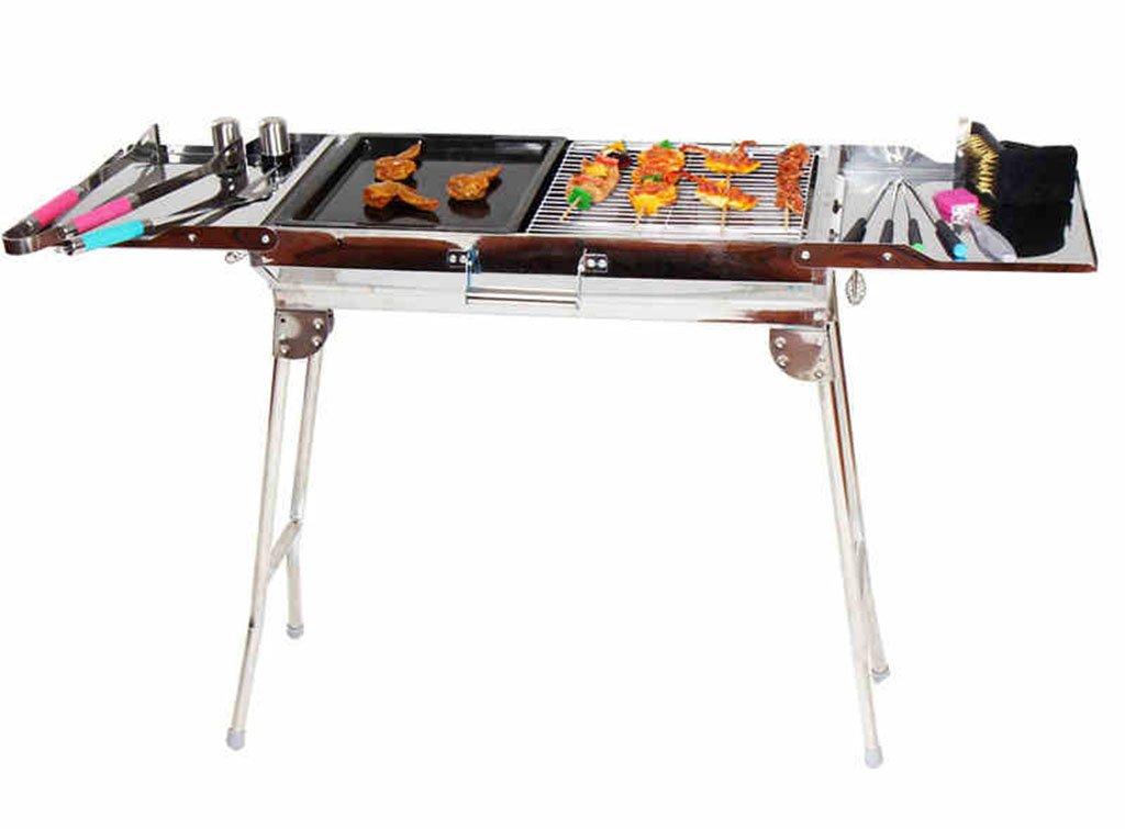 Barbecue Grill, Acciaio Inox portatile Barbecue a carbonella Camping Outdoor BBQ Utensile 112  30  71cm