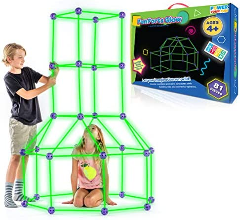 Fun Forts Glow Fort Building Kit for Kids – 81 Pack Glow in the Dark STEM Building Toys Indoor Outdoor Play Tent for Kids Construction Toys with 53 Rods and 28 Spheres
