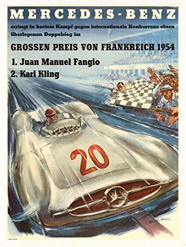 historic pictoric Mercedes Benz Racing 1954 | 24in x 18in Vintage German Poster Print - German Vintage Poster