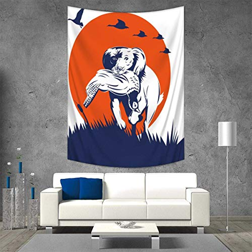 Anhuthree Hunting Throw, Bed, Tapestry Yoga Blanket Cocker Spaniel Breed Dog Retrieving The Pheasant Flying Ducks at Sunset Wall Art Home Decor 70W x 93L INCH Dark Blue Orange White