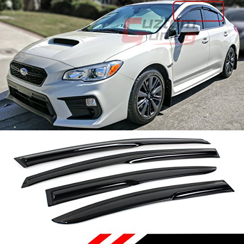 Cuztom Tuning Fits for 2015-2019 Subaru WRX STI & 2012-2016 Impreza 4 Door Base Model 3D Wavy Style Window Visor Rain Guard - Subaru Deflectors Wind