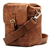 MegaGear Genuine Leather Camera Messenger Bag for Mirrorless, Instant and DSLR, Brown (MG1329)