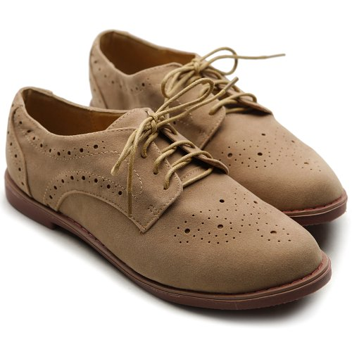 Ollio Women's Lace Up Wing Tip Casual Shoe Dress Low Heel Oxford(10 B(M) US, Sand)