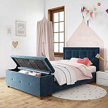 Amazon Com Dhp Davina Upholstered Storage Chest Blue