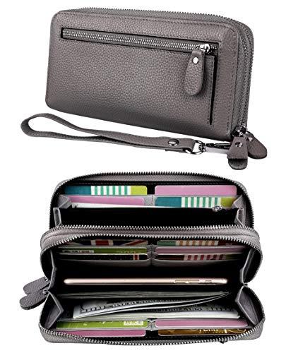 YALUXE Women's RFID Blocking Security Double Zipper Large Smartphone Wristlet Leather Wallet -