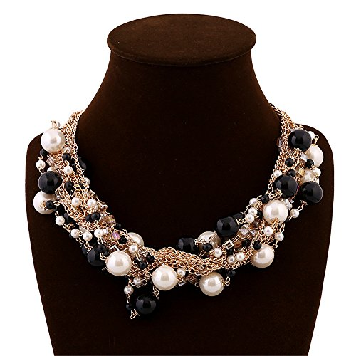Elegant Gold Tone Faux Pearl Crystal Cluster Collar Chunky Bib Necklace