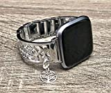 Shiny Silver Metal Luxury Bracelet For Fitbit Versa Smartwatch Handmade Flowers Design Jewelry Fitbit Versa Watch Band Sterling Silver Tree Of Life Charm Adjustable Size Fitbit Watch Bangle